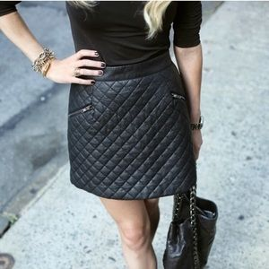 NWT Ann Taylor Faux Leather Quilted Mini Skirt 8